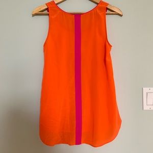 NWOT Anthropologie Maeve Orange/Pink Silk Tank S